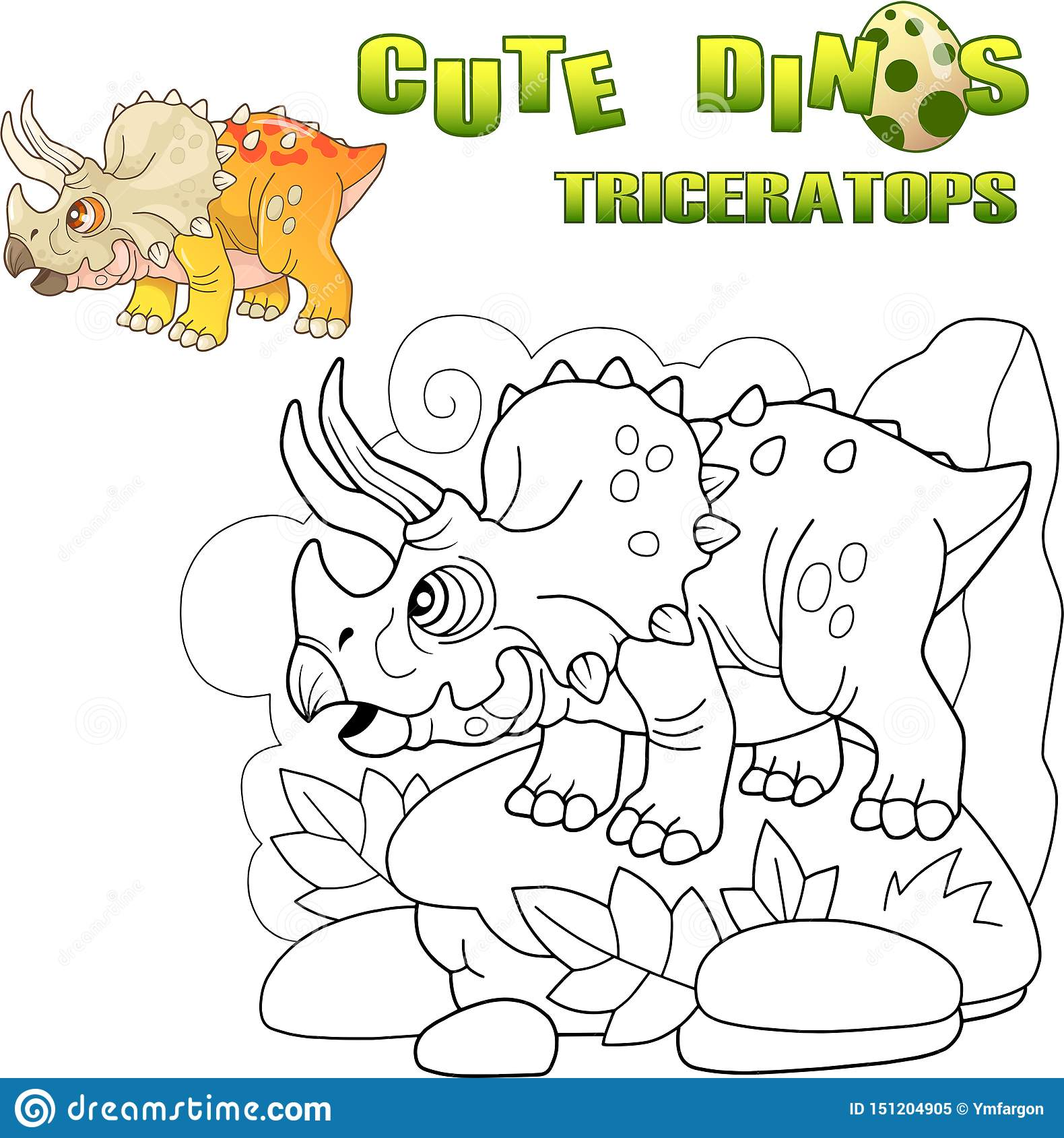 Triceratops prehistórico lindo del dinosaurio, ejemplo divertido