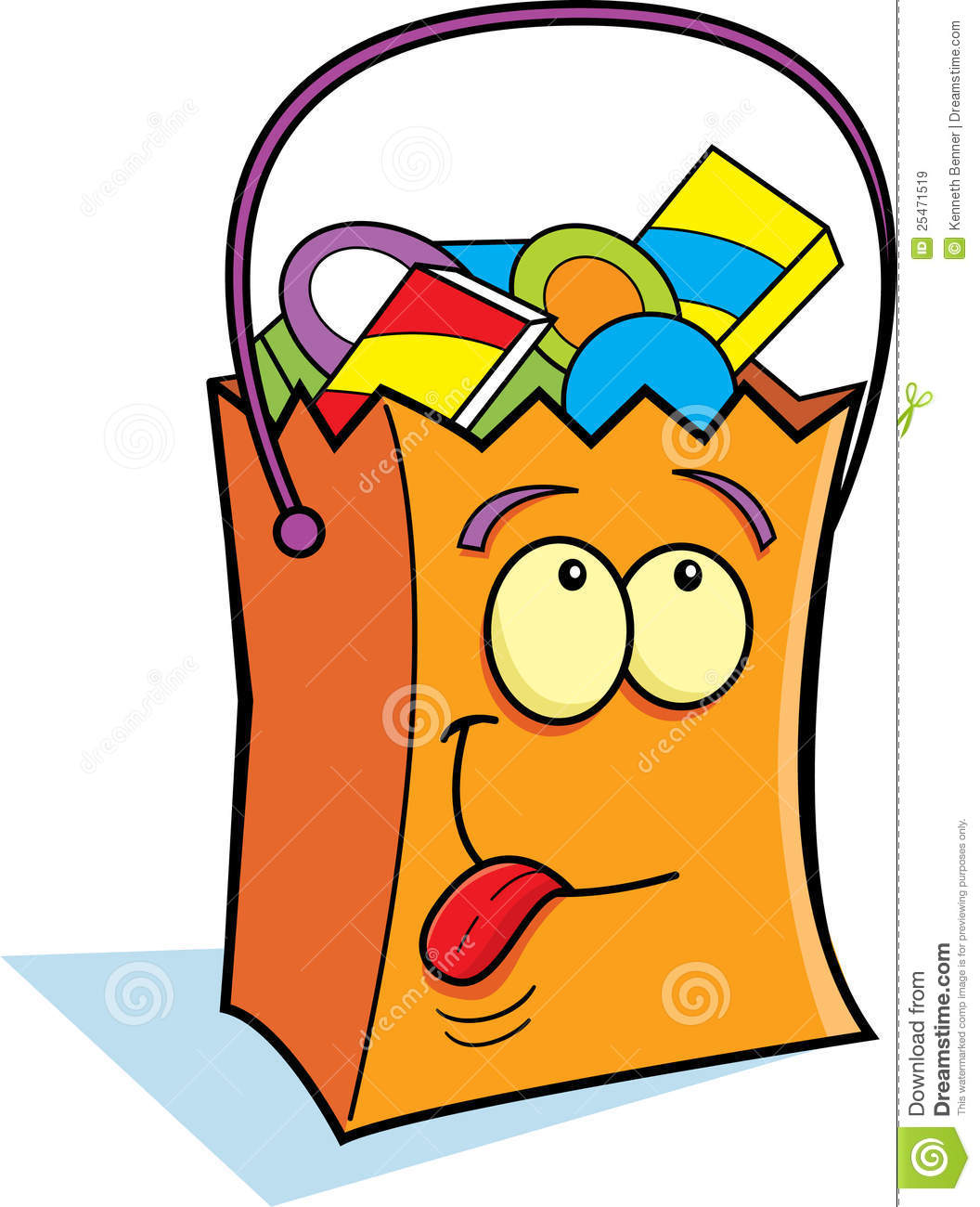 Cartoon illustration of a trick or treat bag filled with candy.