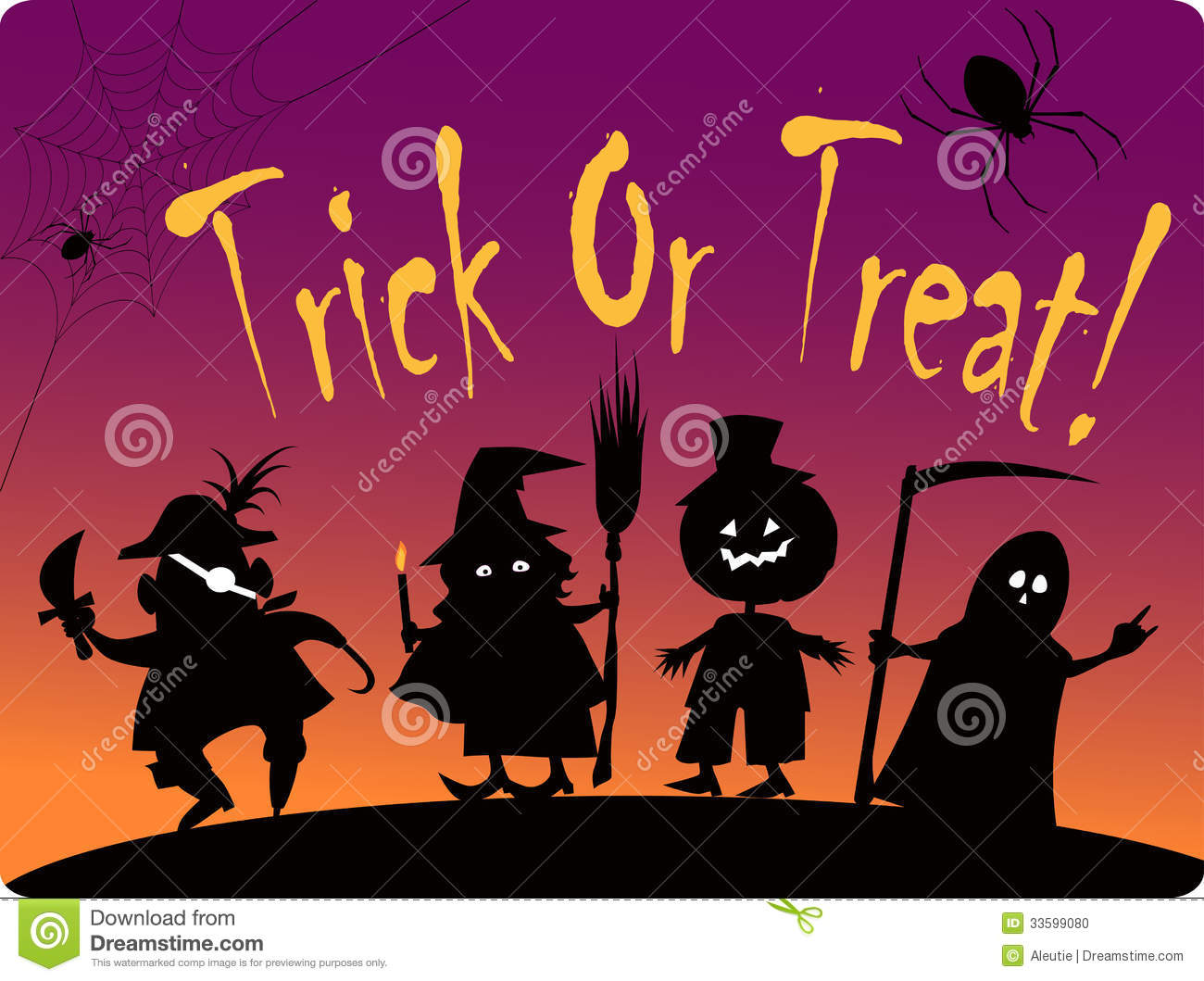... cute Halloween costumed characters: Pirate, Witch, Great Pumpkin and