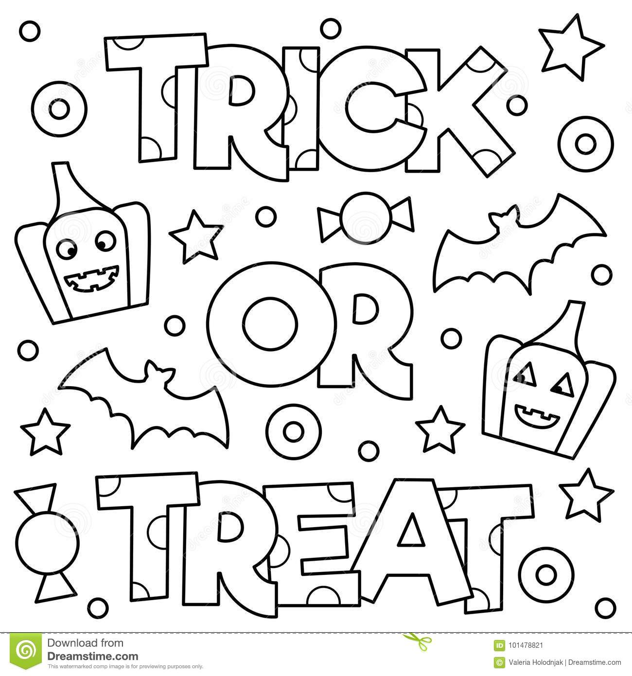 trick or treat coloring pages Trick Or Treat. Coloring Page. Vector Illustration. Stock Vector  trick or treat coloring pages
