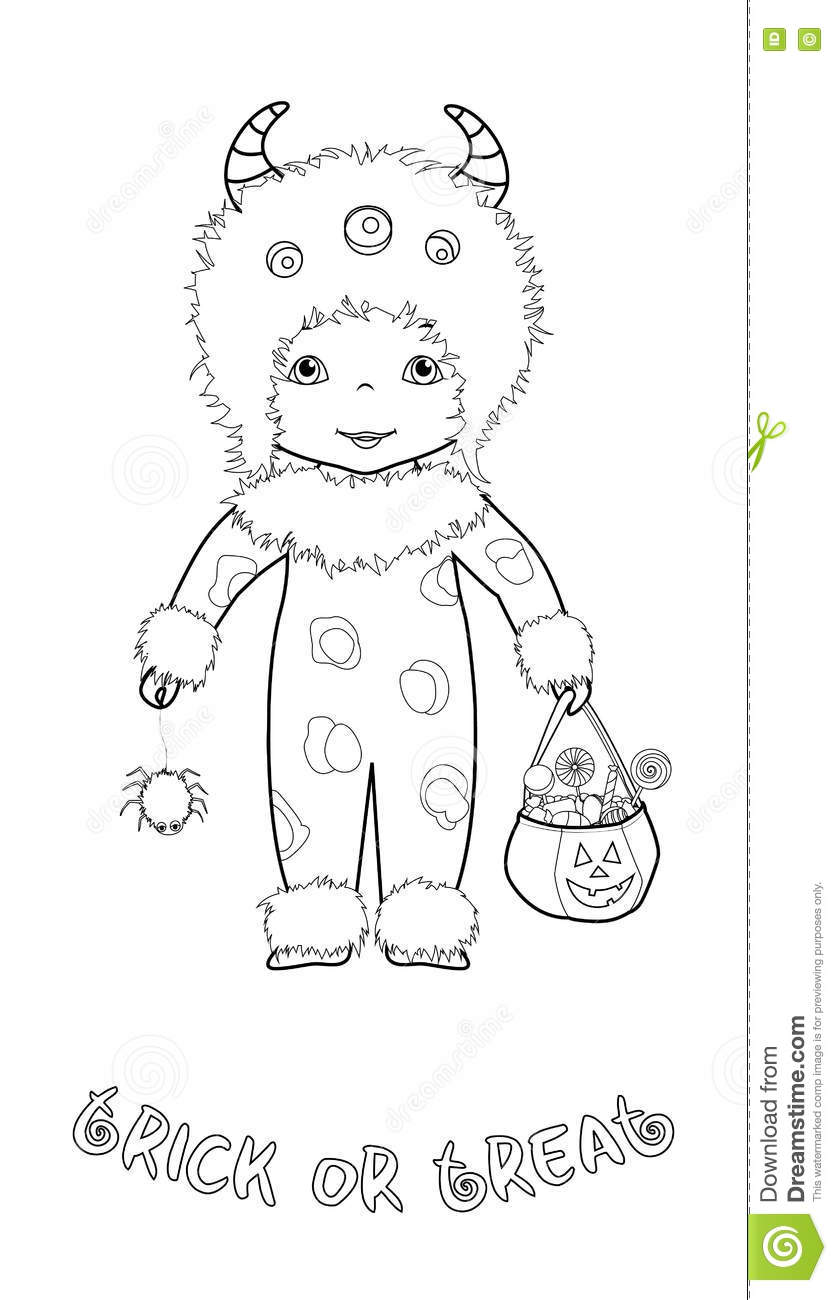 Trick Or Treat Coloring Page With Cute Monster Stock Vector ...