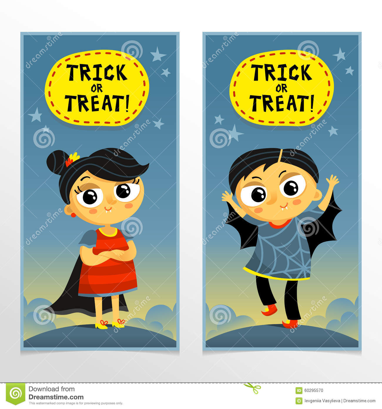 Trick Or Treat Halloween Banners With Boy And Girl In Cute Carni ...