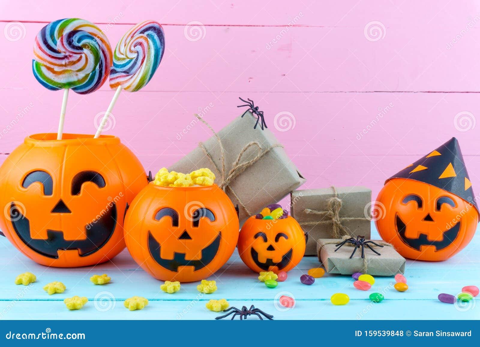 Halloween Jack O Lantern Candy Bucket Blue
