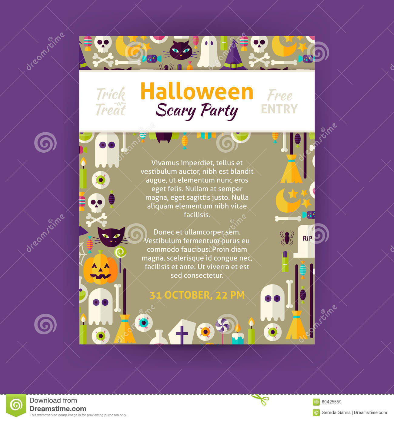 Trick or treat halloween party invitation vector template flyer trick or treat halloween party invitation vector template flyer stopboris Images