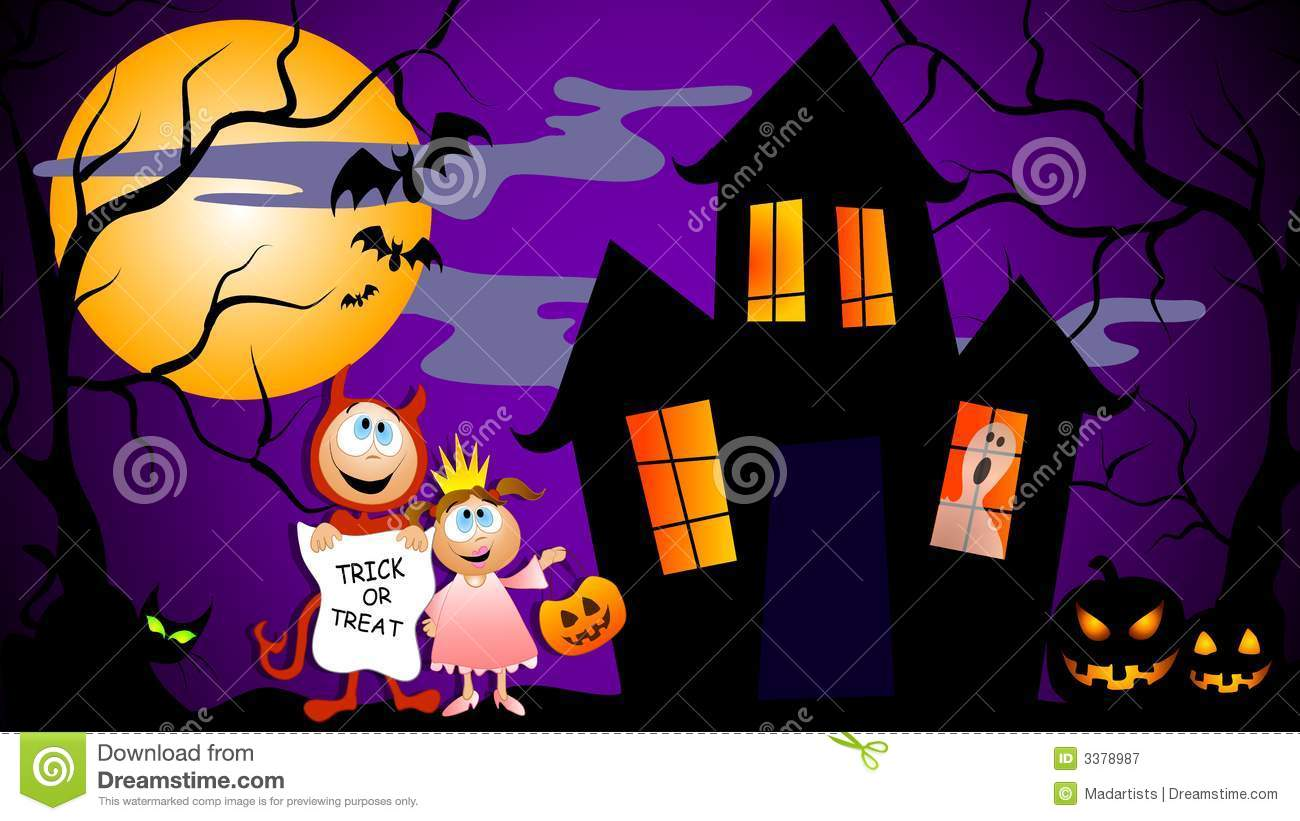 Children And Pumpkin Silhouette On Trick Or Treat Halloween Night.. Royalty  Free Cliparts, Vectors, And Stock Illustration. Image 62091335.