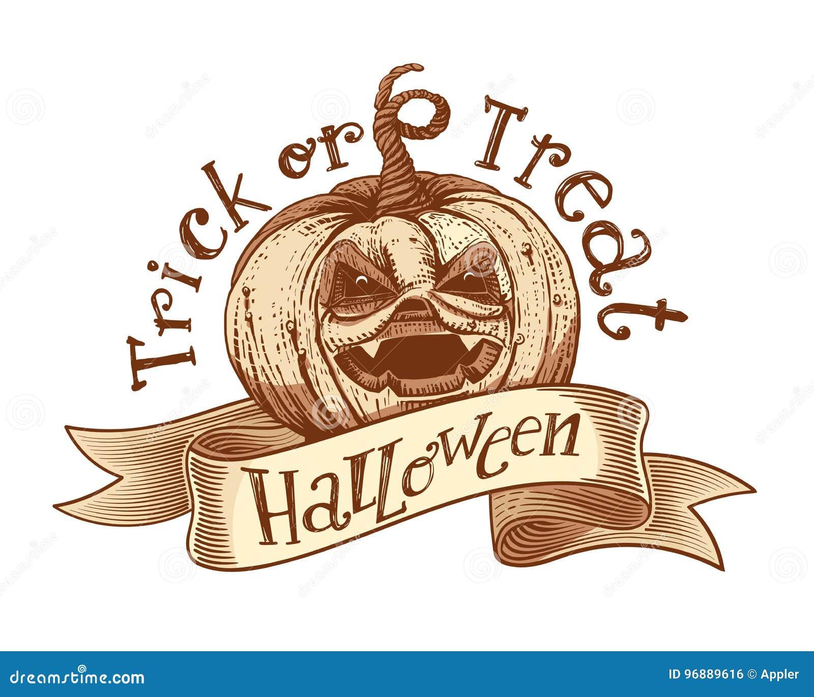 Retro Vintage Halloween Clip Art.Trick Or Treat Retro Halloween Sketch Stock Vector Illustration Of