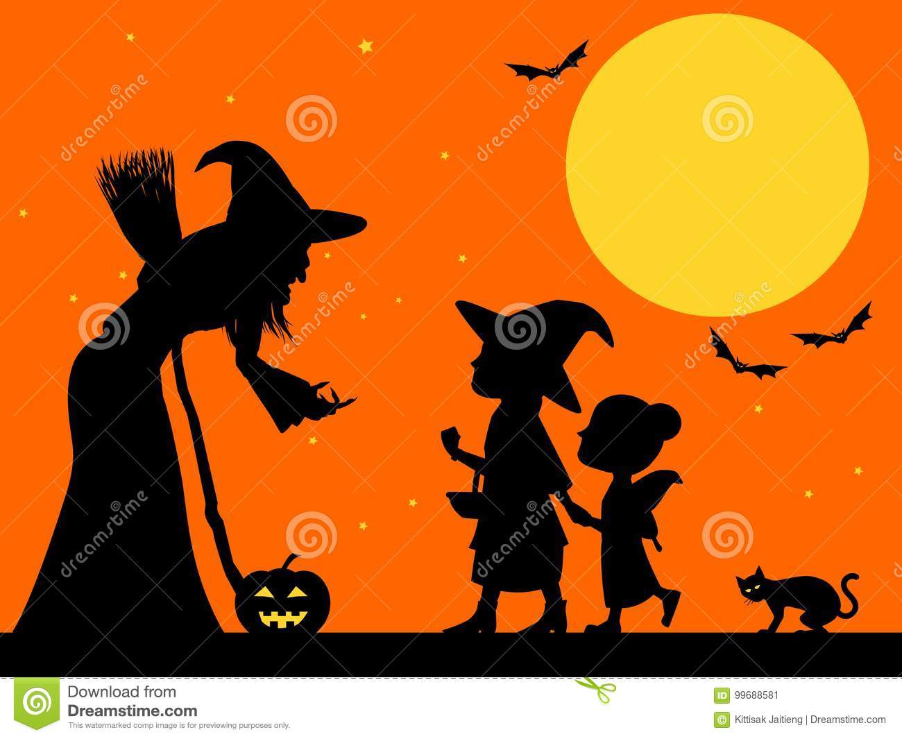 Halloween Trick Or Treat Silhouette.Trick Or Treat Silhouette Stock Vector Illustration Of