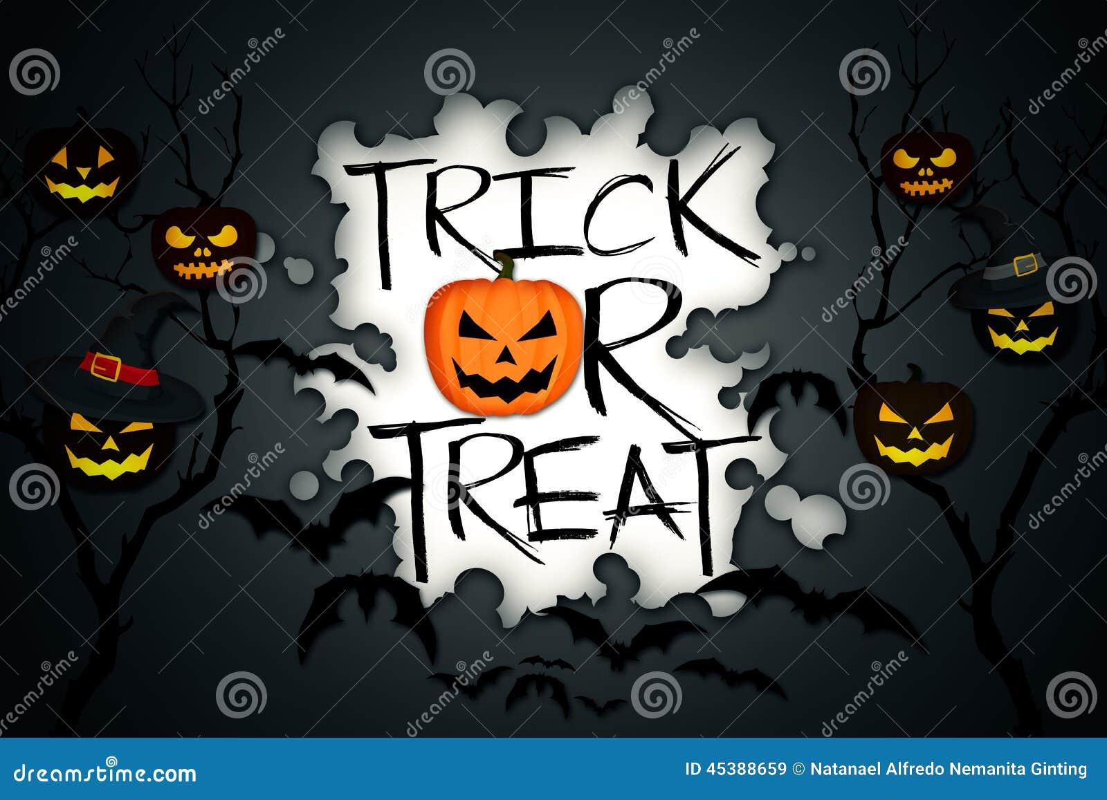 trick or treat tree halloween pumpkins bats black background stock rh dreamstime com