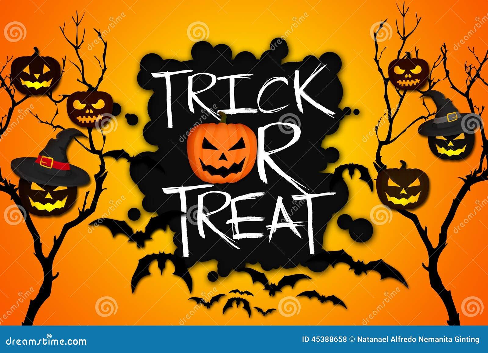 trick or treat tree halloween pumpkins bats orange background stock rh dreamstime com