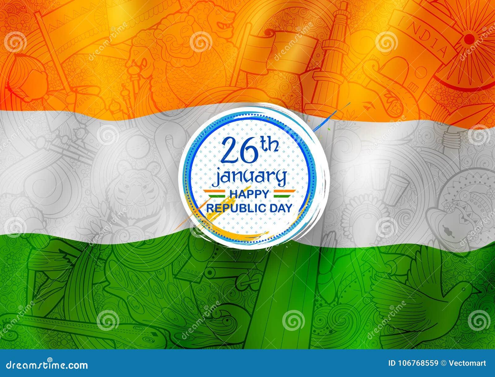 Tricolor baner med den indiska flaggan för 26th Januari lycklig republikdag av Indien