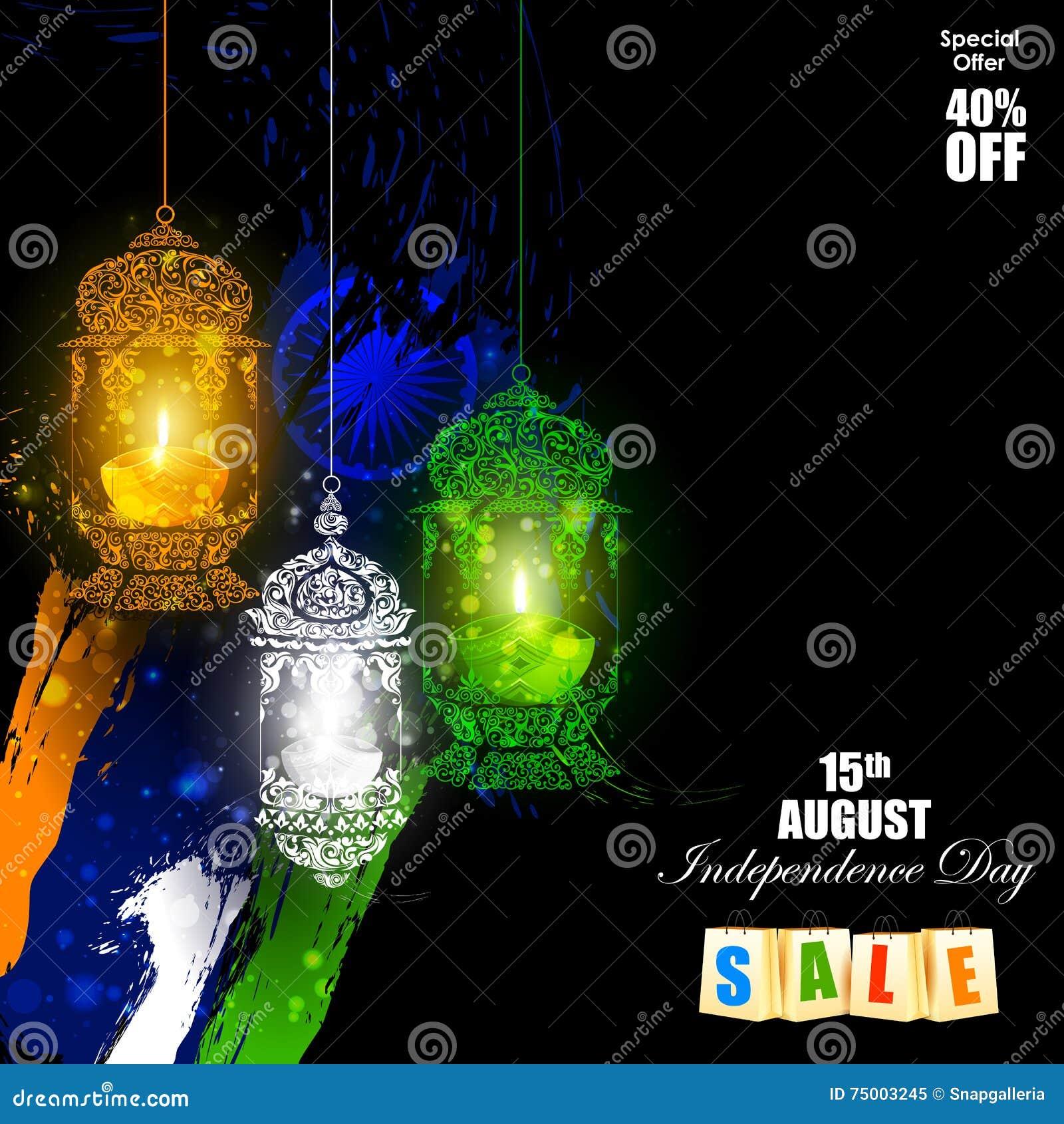 Tricolor Diya op Indische de vieringsachtergrond van de Onafhankelijkheidsdag