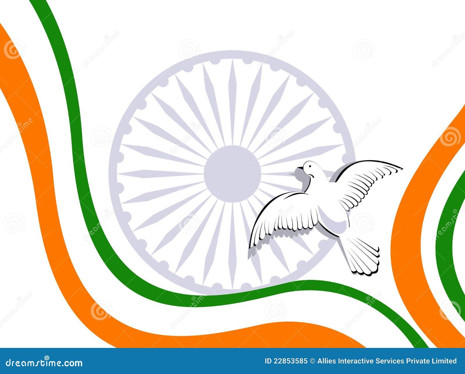 Tricolor indiska duvor för flaggaflyg