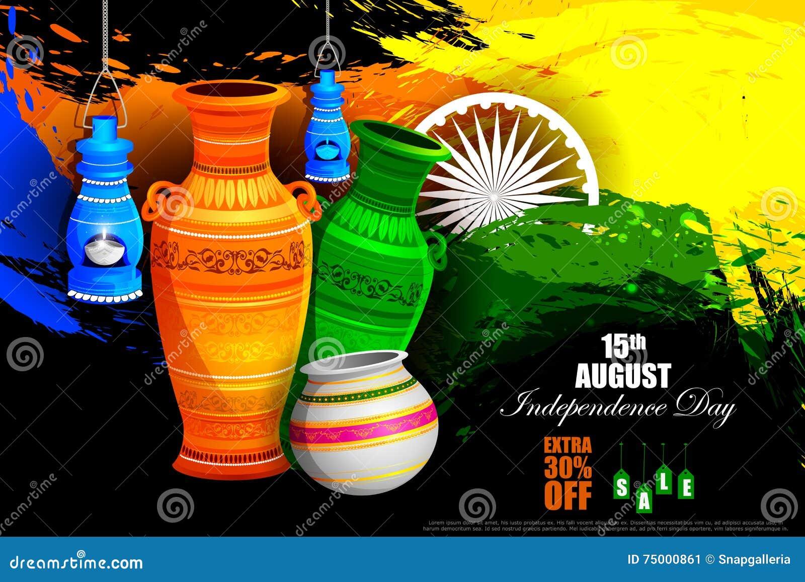 Tricolorpot op de Indische achtergrond van de de vieringsreclame van de Onafhankelijkheidsdag