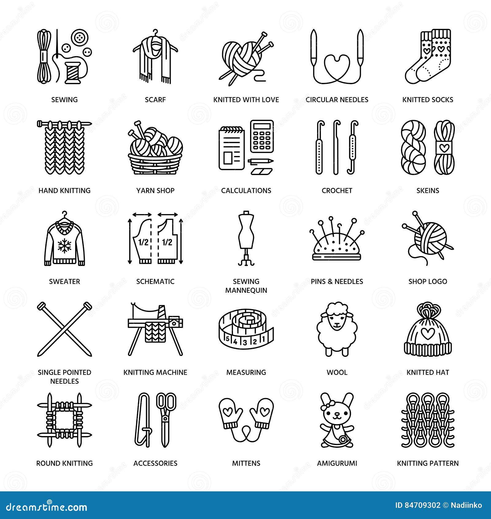 4616a8059528 Tricotant, crochet, ligne fabriquée à la main icônes réglées Aiguille de  tricotage, crochet, écharpe, chaussettes, modèle, écheveaux de laine et  tout autre ...