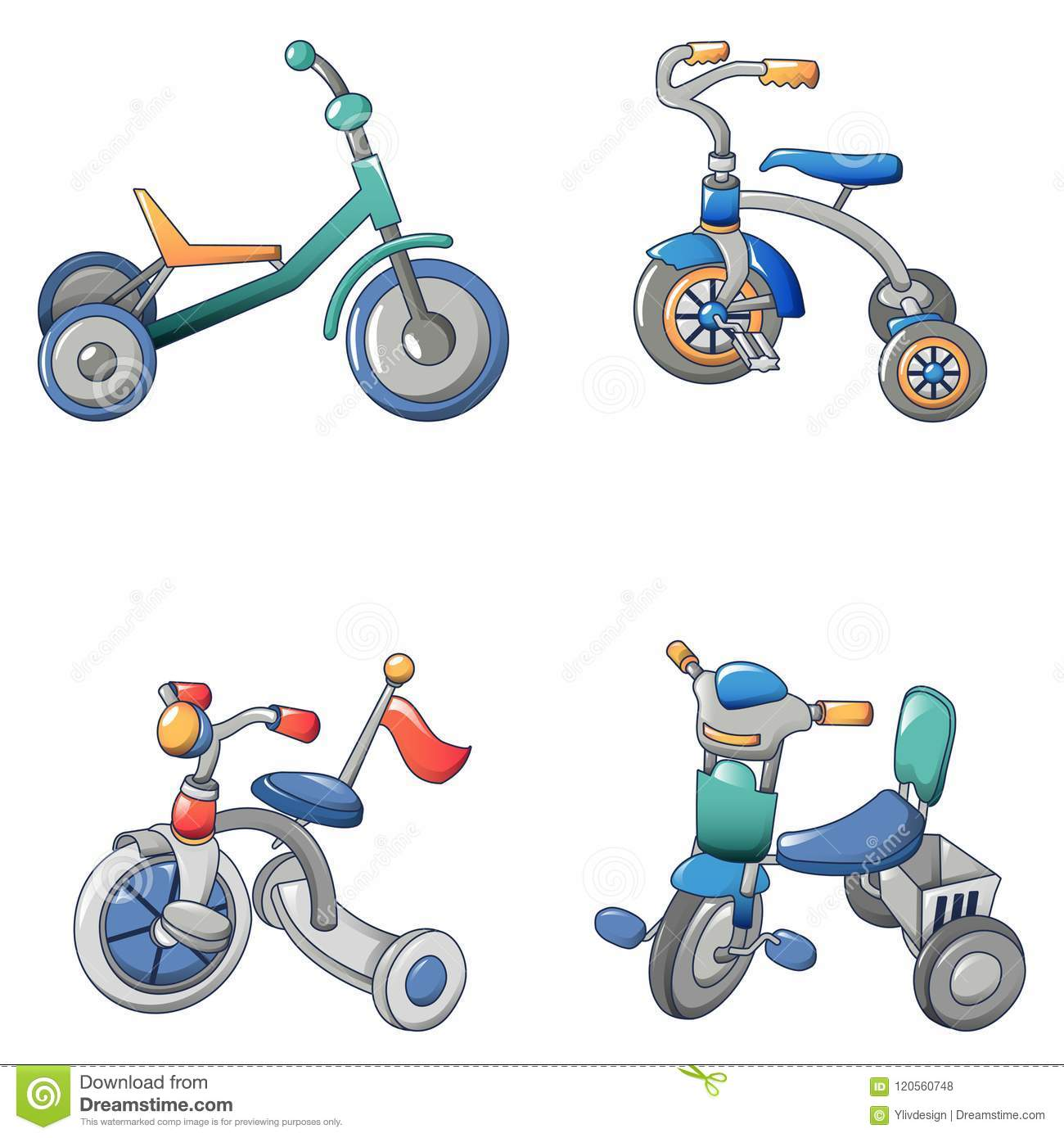 Tricycle Bicycle Bike Icons Set Cartoon Style Stock Vector Illustration Of Baby Colorful 120560748
