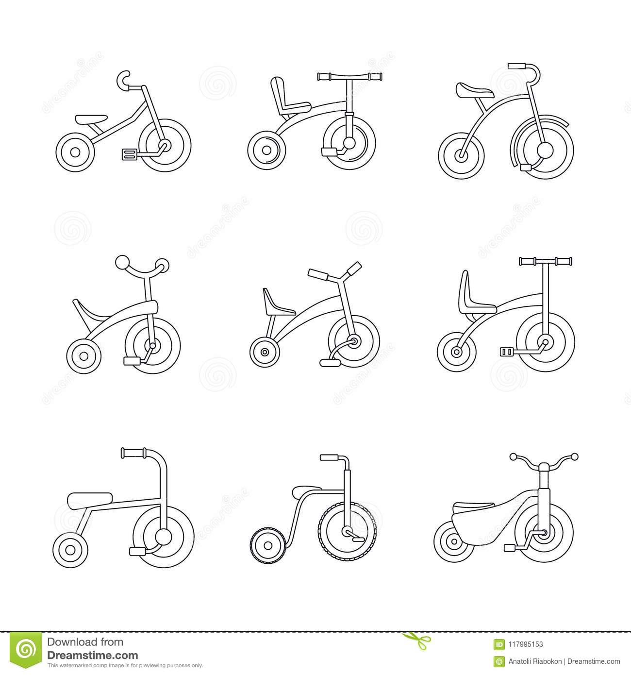Tricycle bicycle bike wheel icons set, outline style