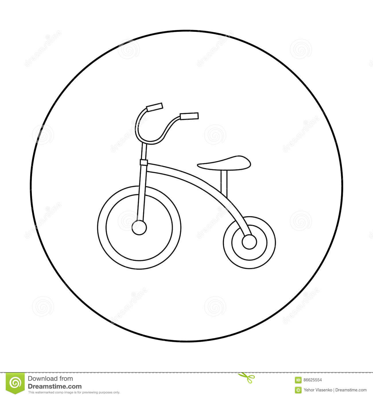 Tricycle icon in outline style isolated on white background. Play garden symbol stock vector illustration.
