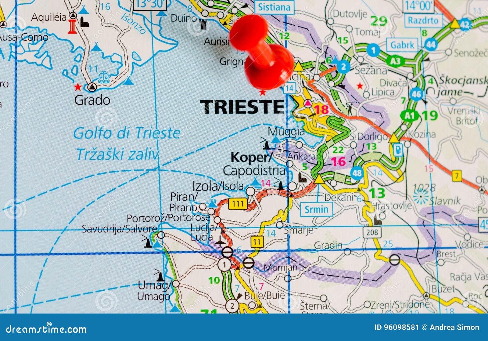 italien karte triest Triest auf Karte stockbild. Bild von karte, triest   96098581