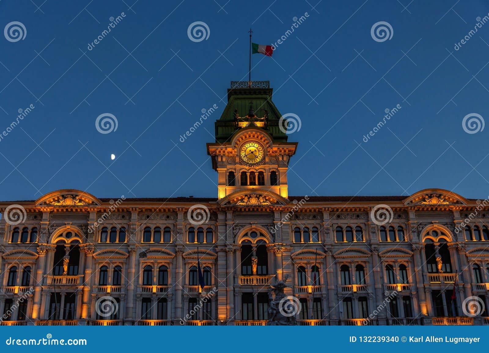 Trieste, Italia, ayuntamiento, UNITA d 'Italia de la plaza