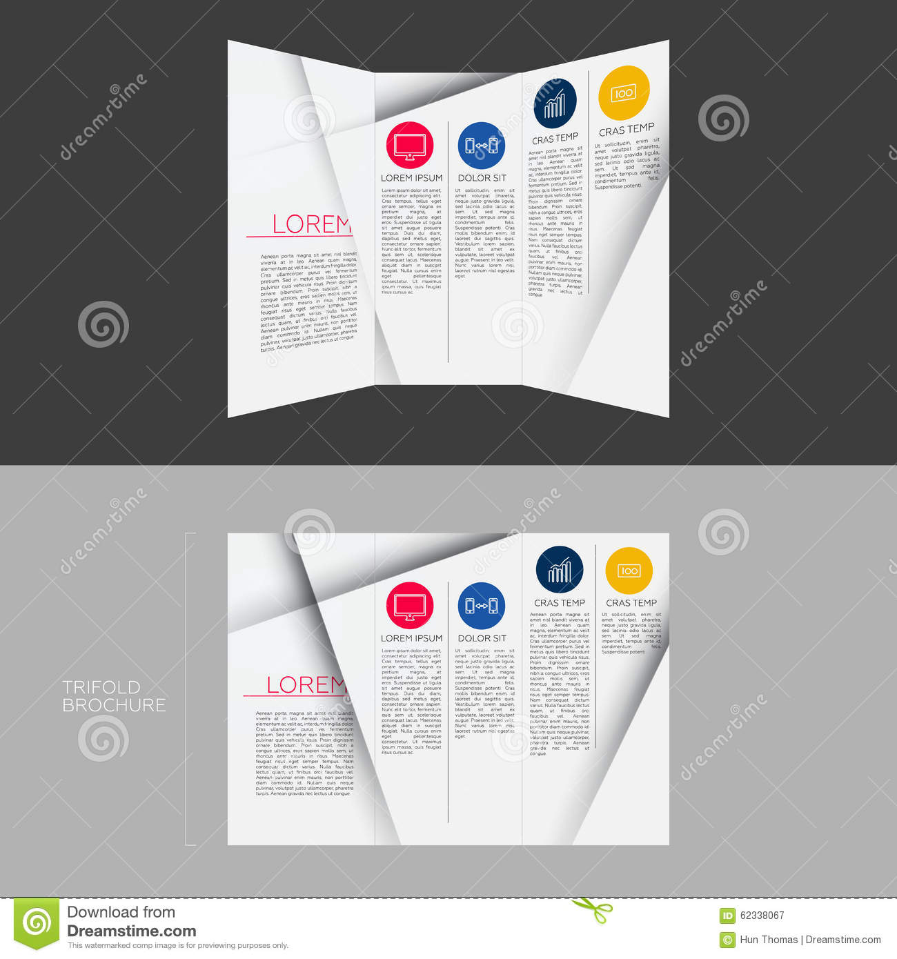 Trifold brochure template design in dl size stock for Dl brochure template