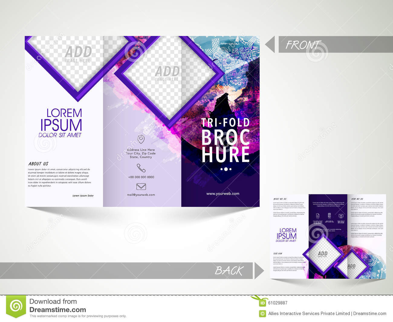 two sided brochure template - trifold brochure template or flyer for business stock