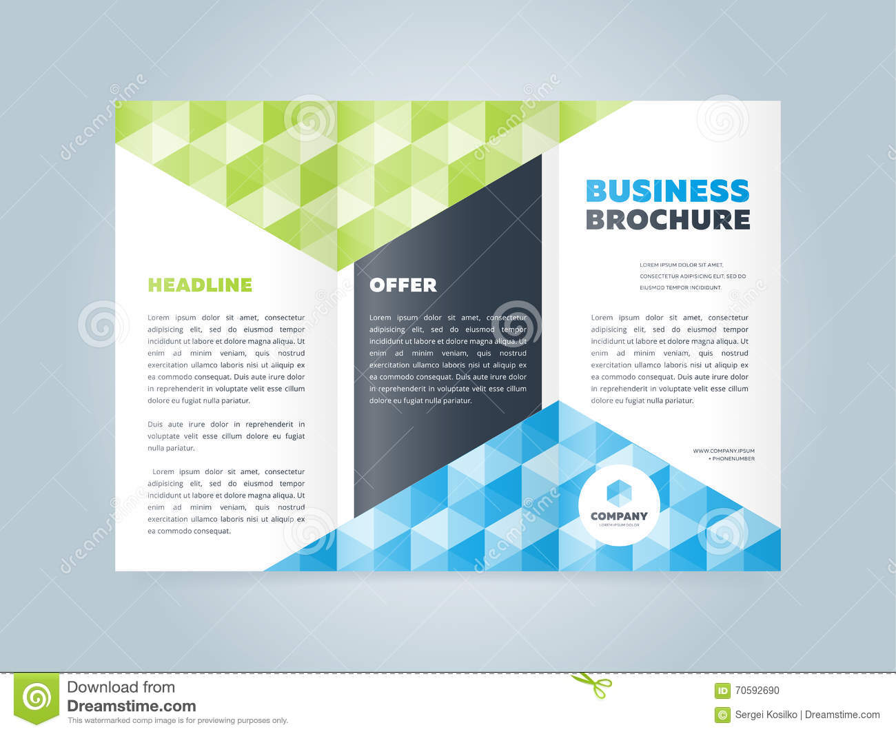 commercial brochure templates - trifold business brochure design template stock vector