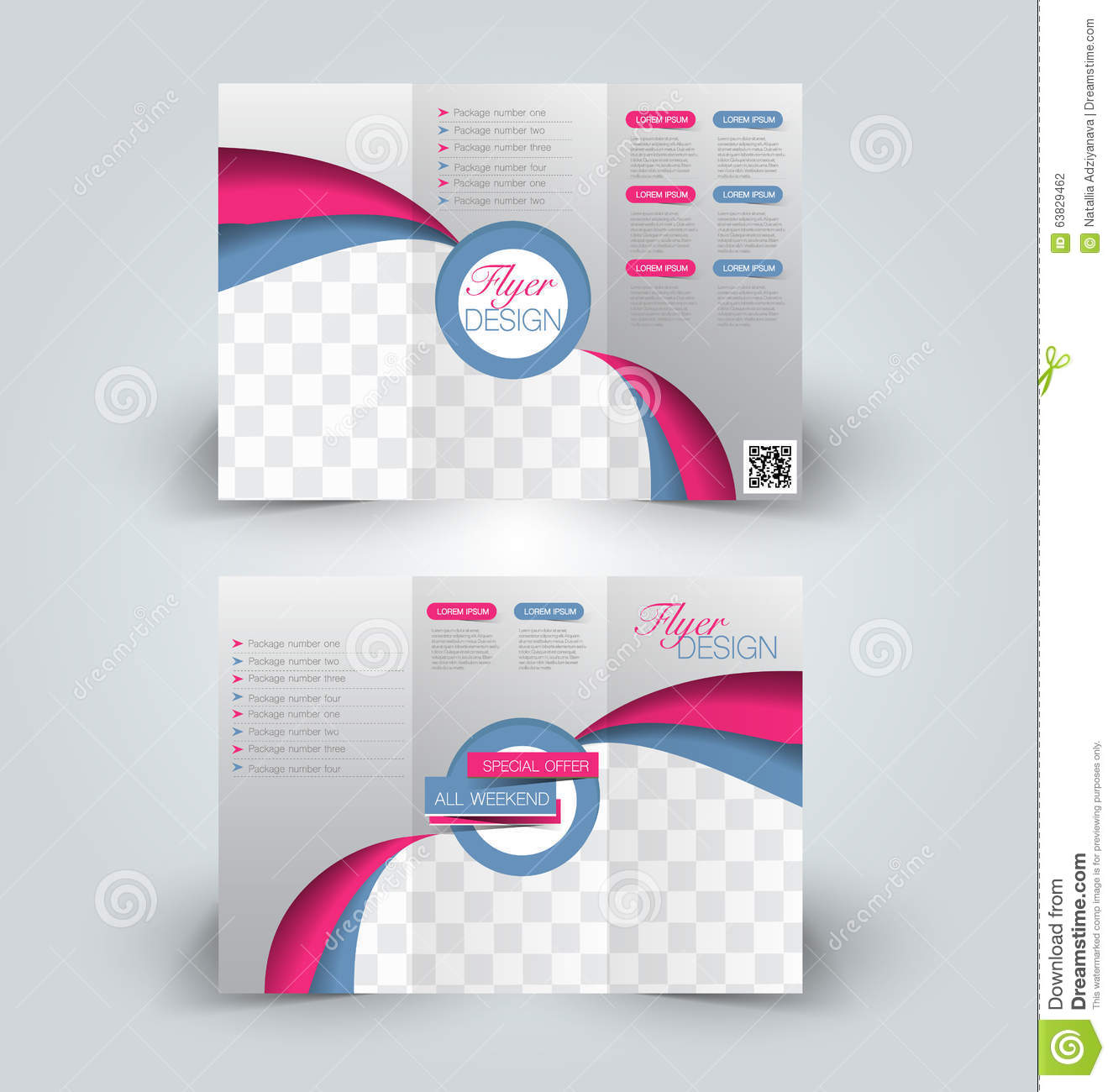 Trifold Business Brochure Leaflet Template Vector Image – Printable Tri Fold Brochure Template