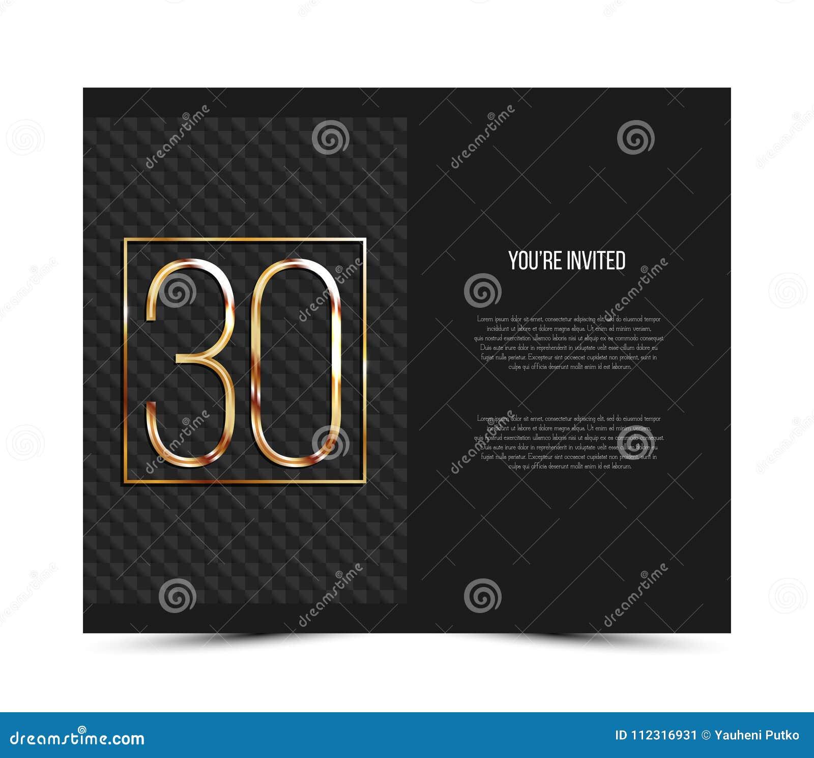 Trigésima Plantilla De La Tarjeta De La Invitación Del Aniversario ...