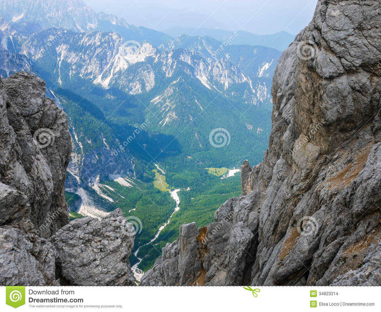 View of Vrata Valley in Triglav National Park, Slovenia.