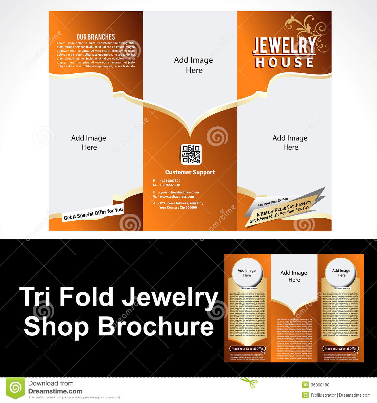 Tril Fold Jewelry Shop Brochure Stock Photo Image 36068180