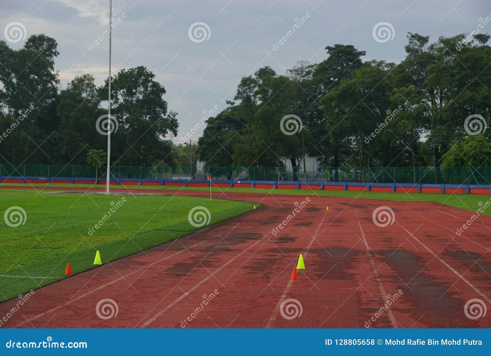 Trilha e campos com o cone 2 amarelo na trilha com grama artificial dentro de um estádio