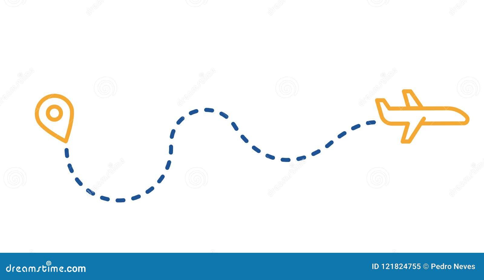 Mudei As Rotas E Meus Planos: Trilha Pontilhada Da Rota Com Plano E Pino Dos Gps Linha