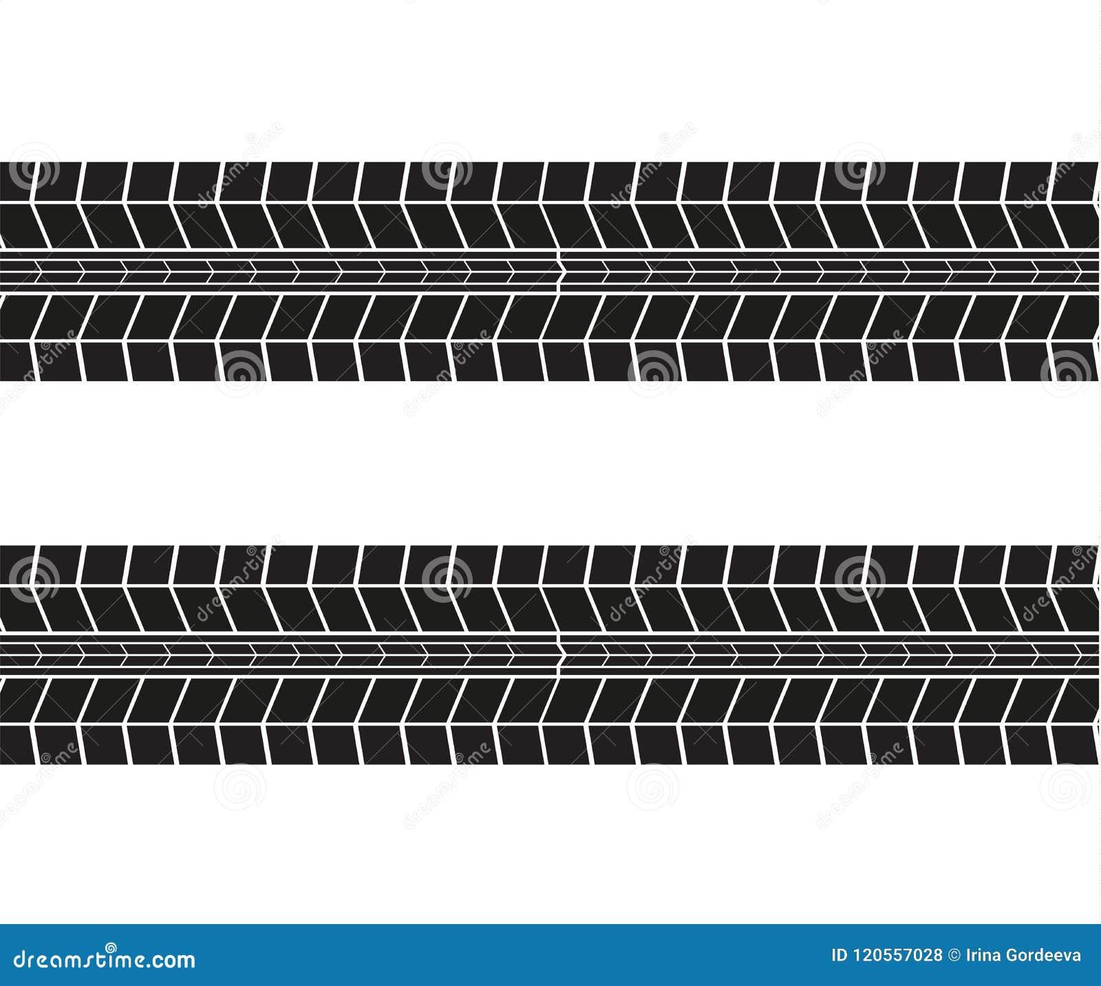 Trilhas do pneu Ilustração do vetor no fundo branco