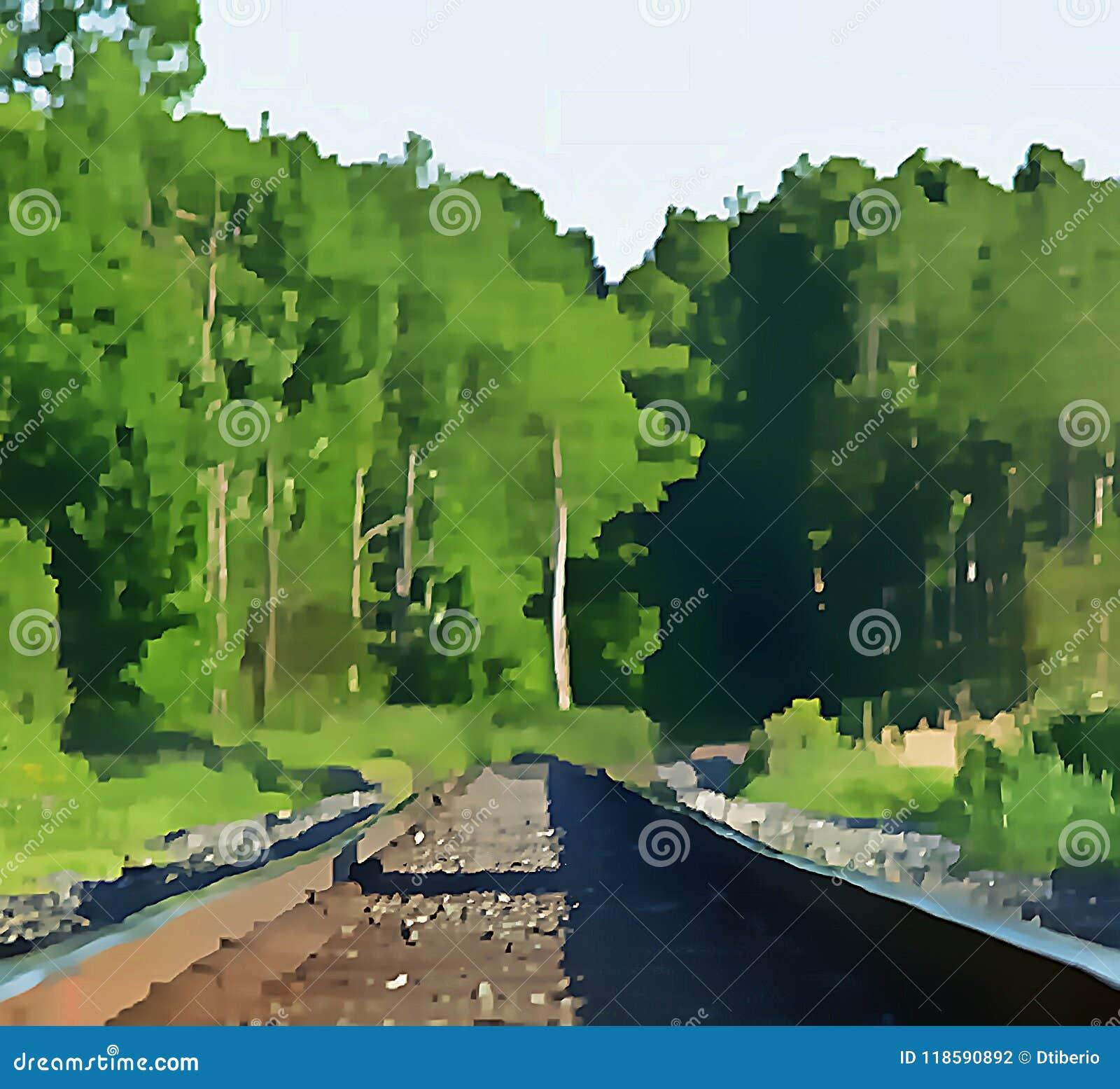 Trilhas e Forest Artwork do trem