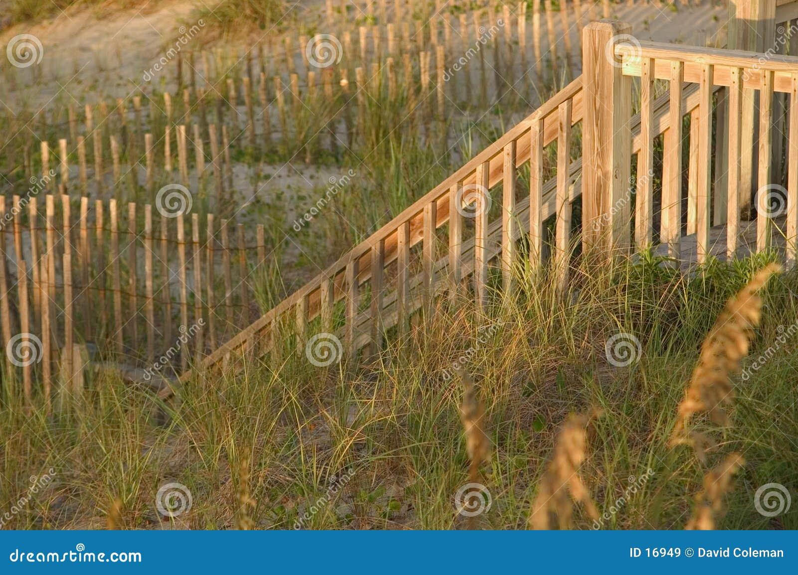 Trilhos e cercas da escada