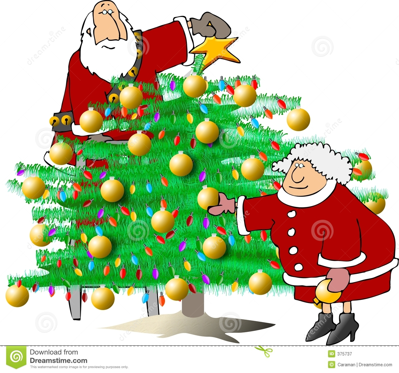 Trimming The Christmas Tree Royalty Free Stock Photography - Image ...
