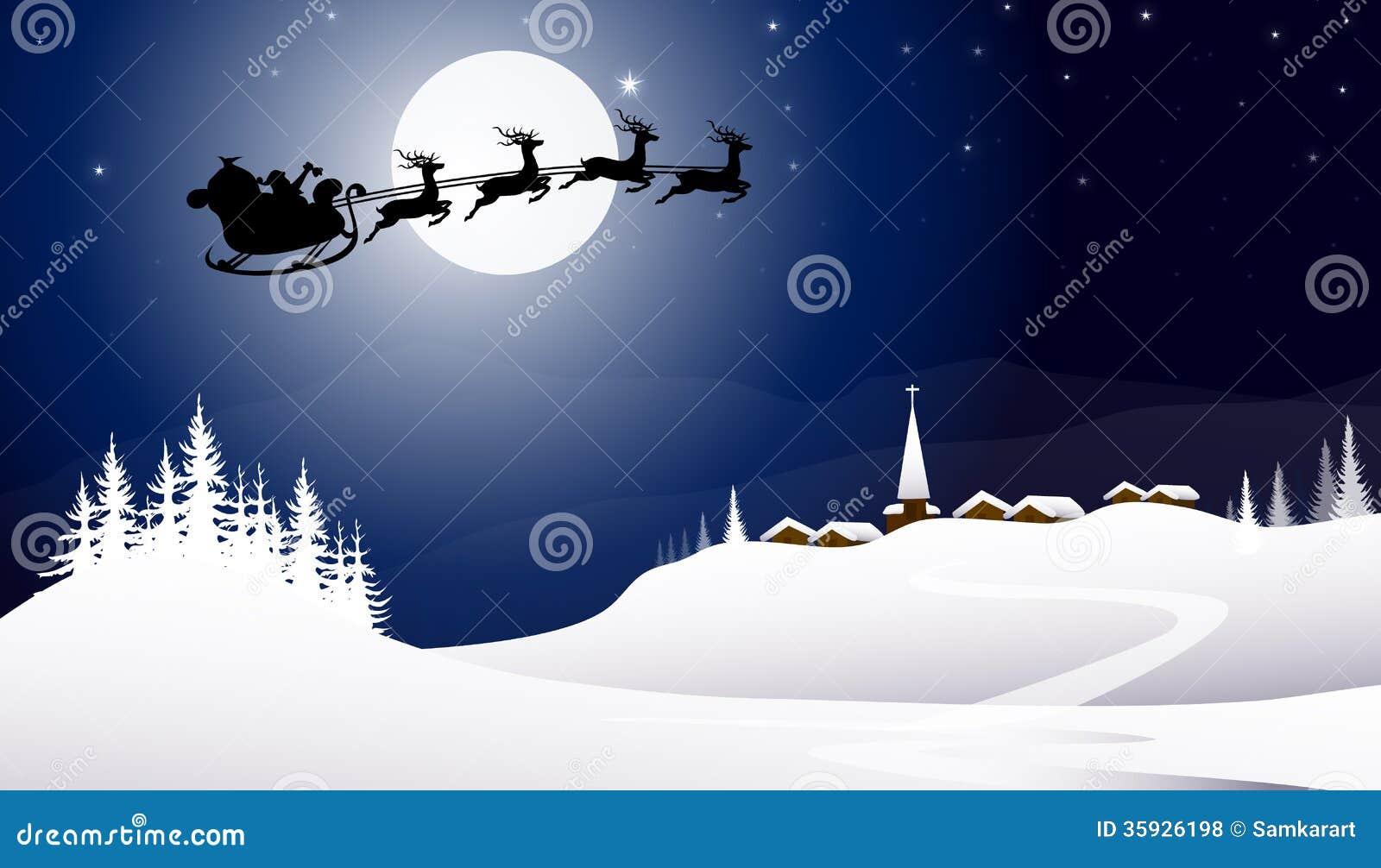 Trineo con Santa Claus en la noche del invierno