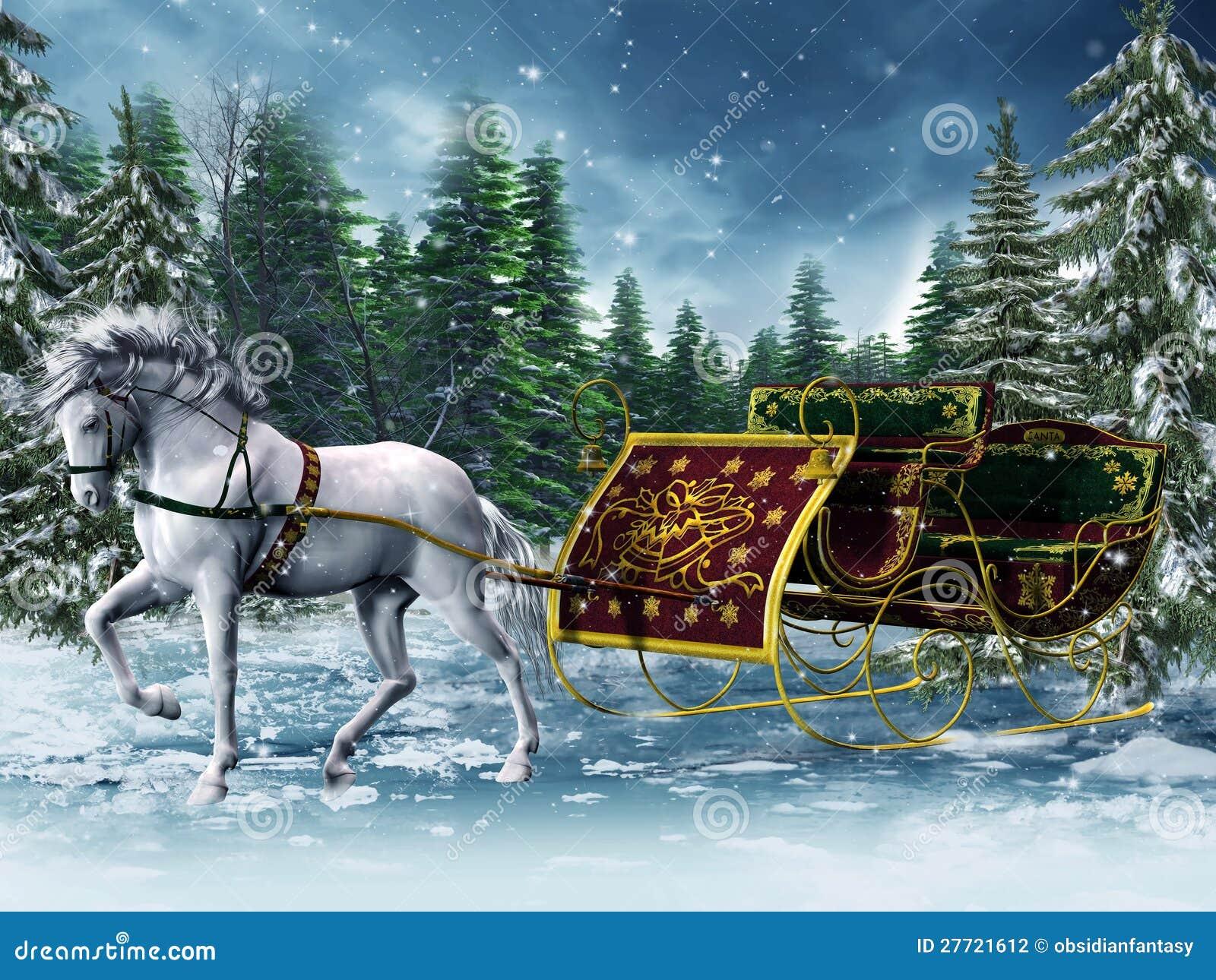Trineo de la vendimia y un caballo