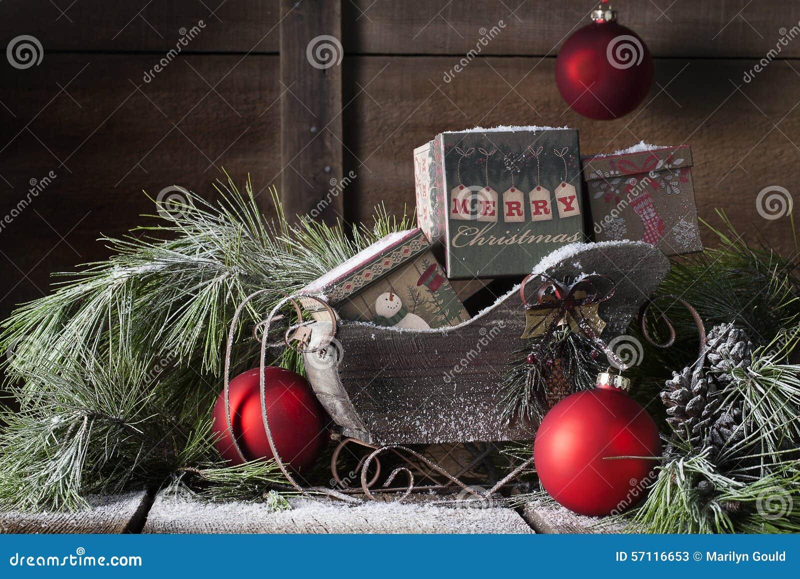 Trineo de madera de la Navidad