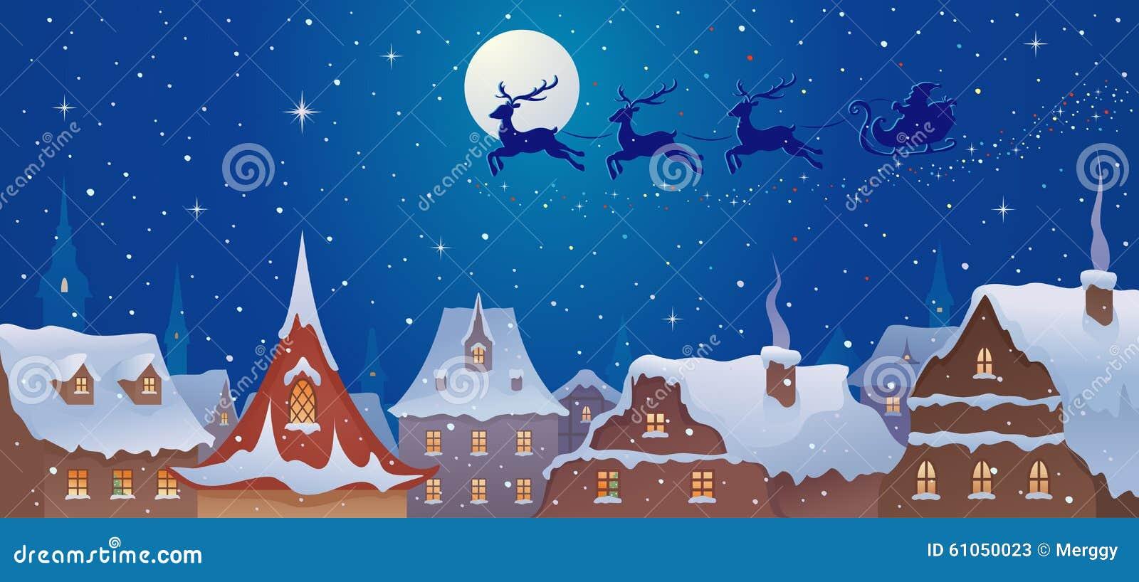 Trineo de Papá Noel sobre ciudad