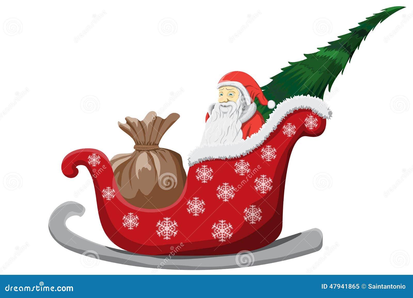 Trineo De Santa Claus Christmas Aislado En El Fondo Blanco