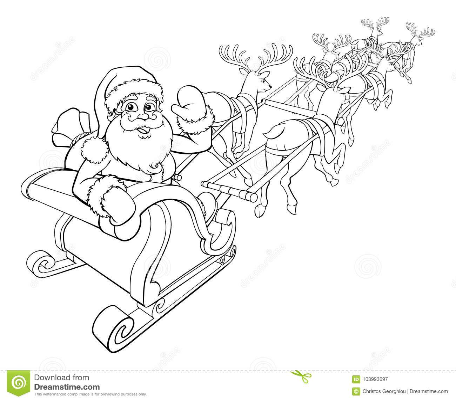 Trineo del trineo de la Navidad de Santa Claus y del reno