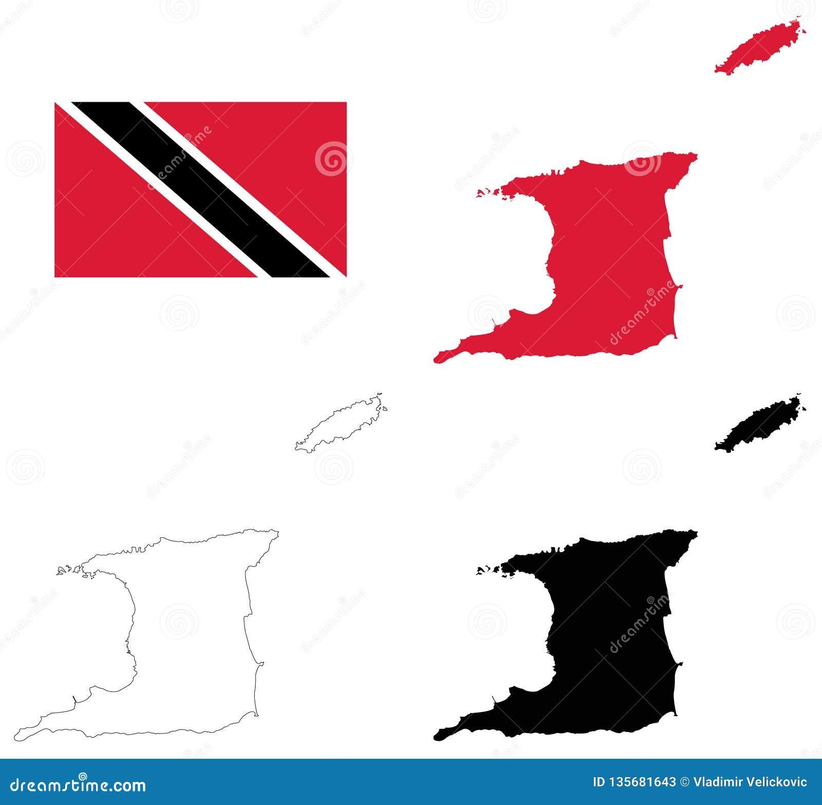 Trinidad And Tobago Flag And Map - Republic Of Trinidad And ...
