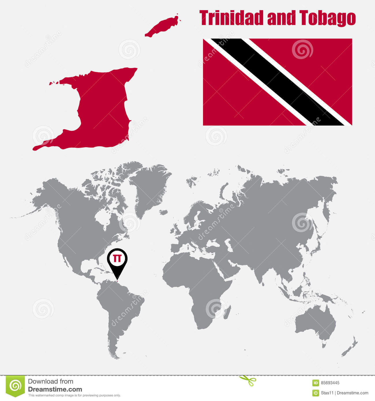 Trinidad And Tobago Map On A World Map With Flag And Map Pointer Vector Illu
