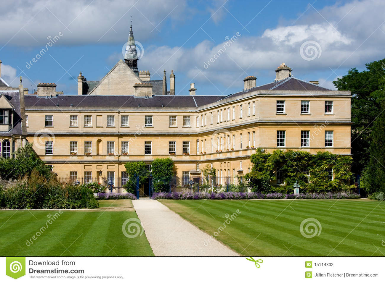 View of the rear garden of trinity college oxford university