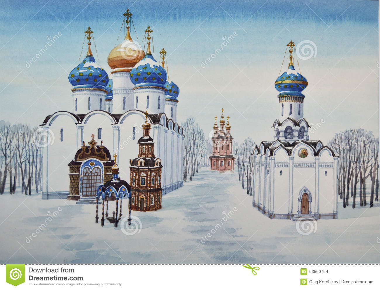 Sergiyev Posad Russia  city pictures gallery : Trinity Lavra of St. Sergius in Sergiyev Posad. Russia. Watercolor.