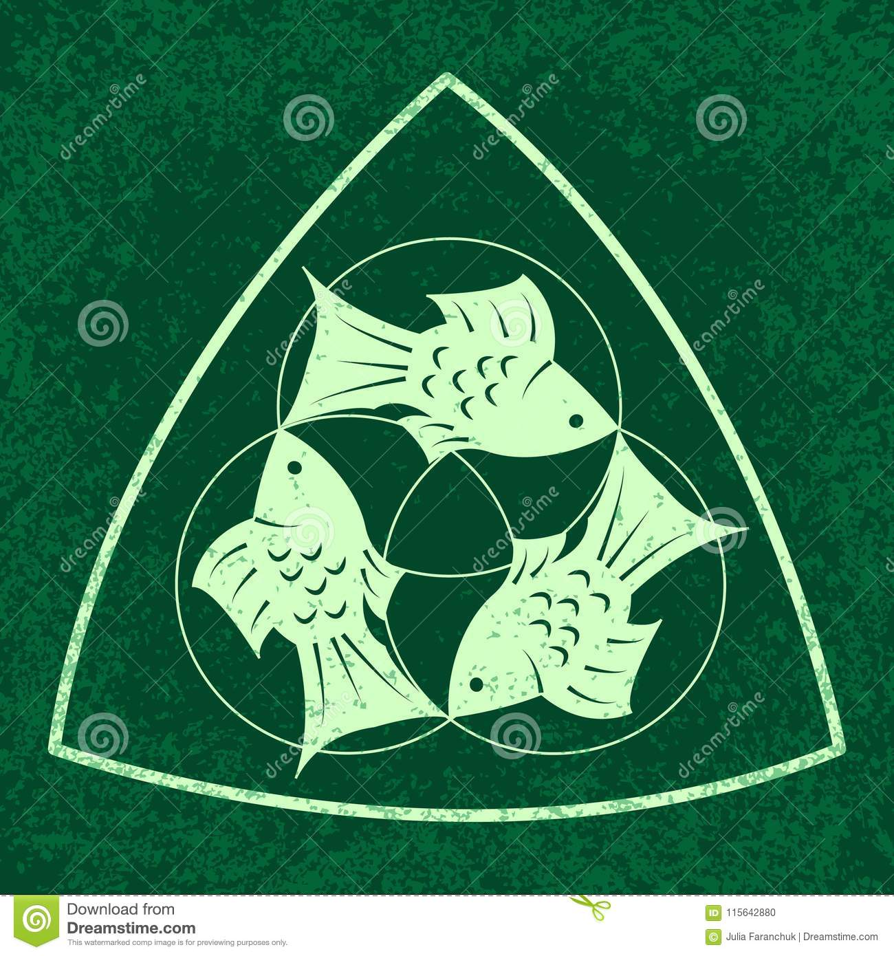 Trinity Sunday Christian Holiday Three Fish Located Symmetrically