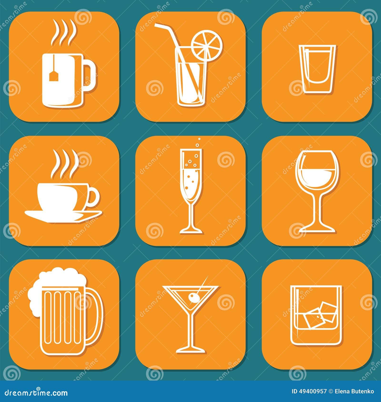 Download Trinkende Ikonen vektor abbildung. Illustration von kennsatz - 49400957