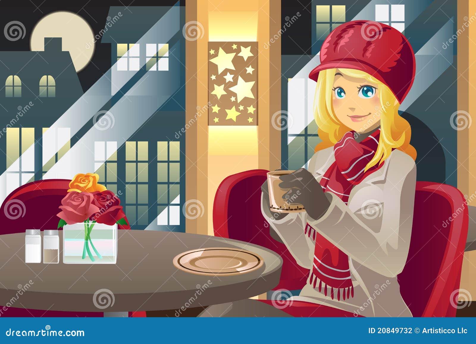 Trinkender Kaffee der Winterfrau