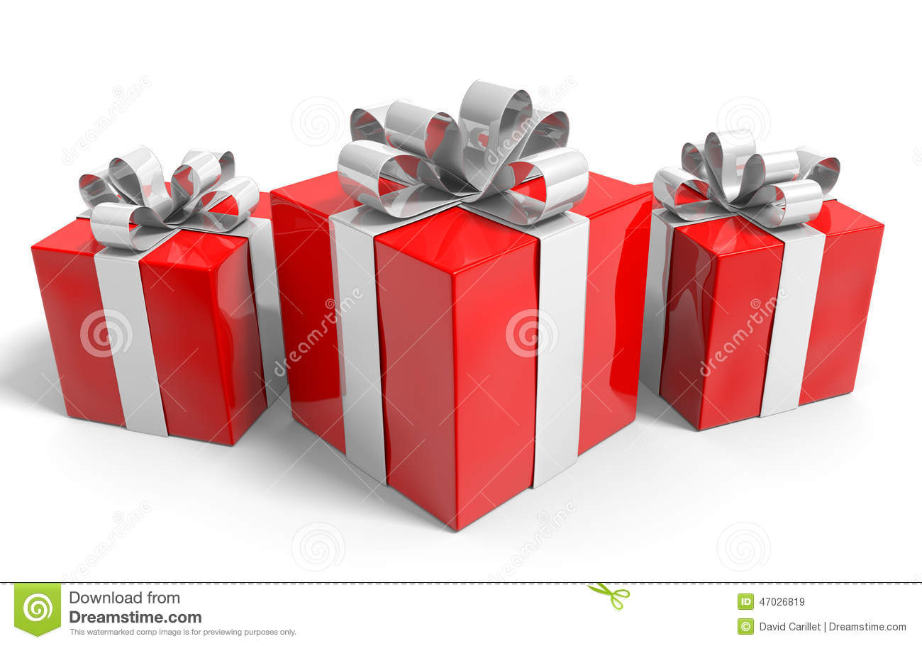 Trio Of Christmas Gifts Neatly Wrapped In Silver Ribbons Stock ...